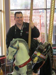 Our host on the Looff Carousel in Santa Cruz