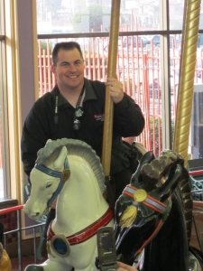 Our host on the Looff Carousel in Santa Cruz