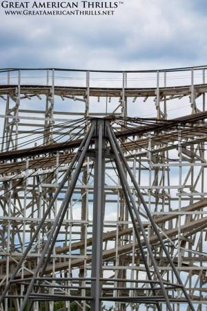 The original drop of the Riverside Cyclone can be clearly seen below the modified drop.