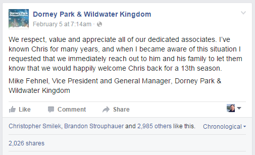 Dorney eventually responded - but only issuing one statement and not responding to individuals only incited more anger towards the park.