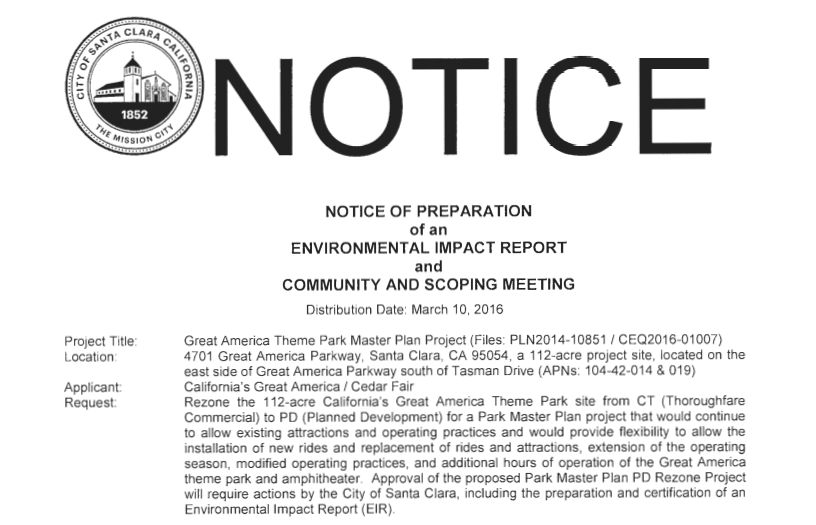 The official notice from the City of Santa Clara, announcing the proposed change in zoning